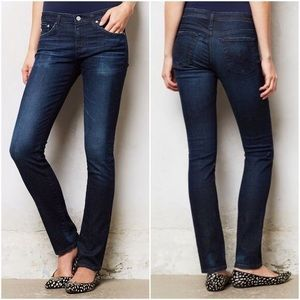 AG Slim Straight Stevie Dark Wash Stretch Jeans